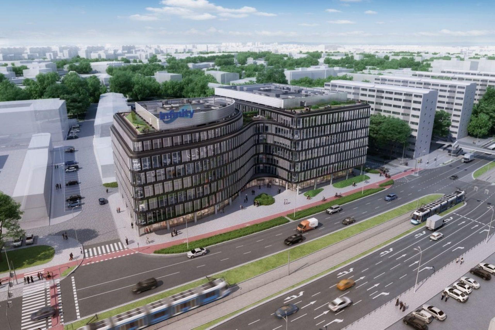 Na Placu Jana Pawła II trwa budowa nowego biurowca [ZDJĘCIA + WIZUALIZACJE]