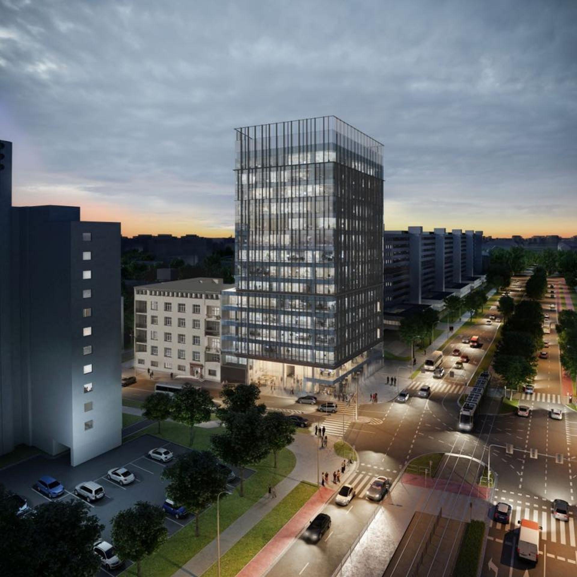 Wrocław: Wielka 27 – trzy lata opóźnienia i zmieniony projekt. I2 Development buduje biura przy Sky Towerze [NOWE WIZUALIZACJE]