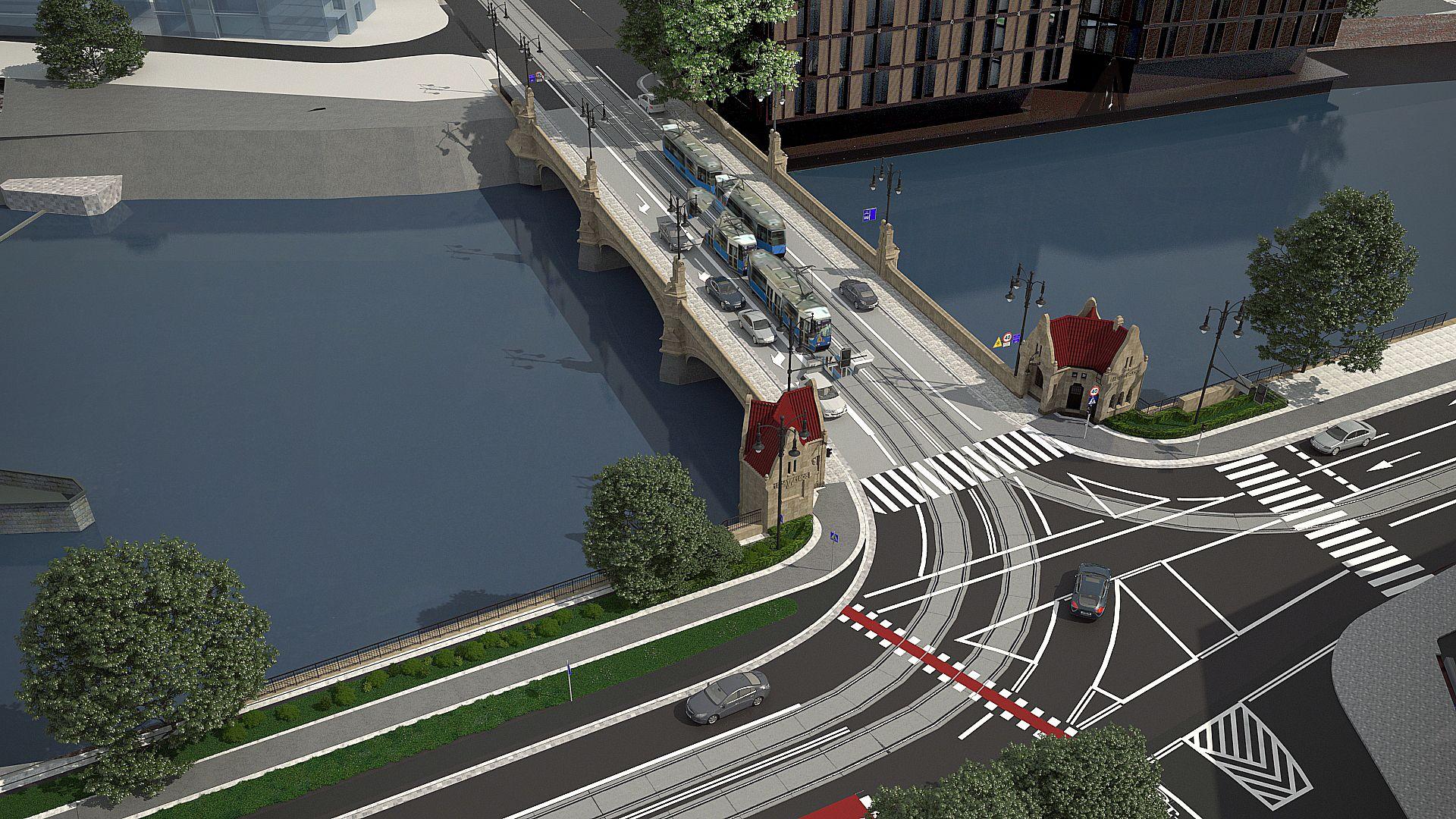 W centrum Wrocławia remontowane są zabytkowe mosty Pomorskie