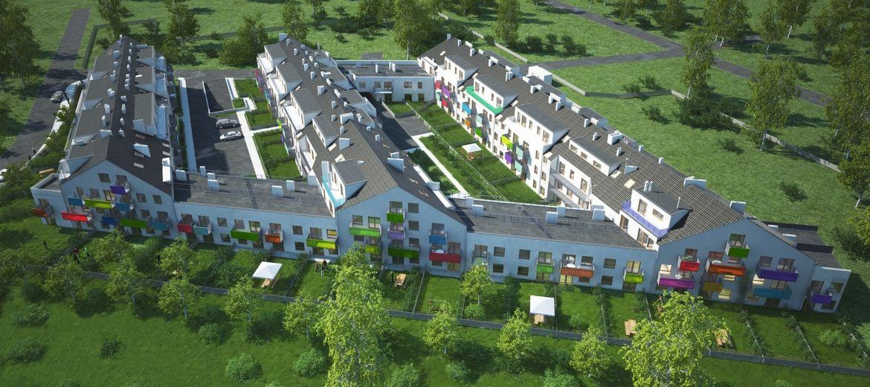 Widok na całe osiedle Osada Kolorowa (wizualizacja: materiały inwestora)