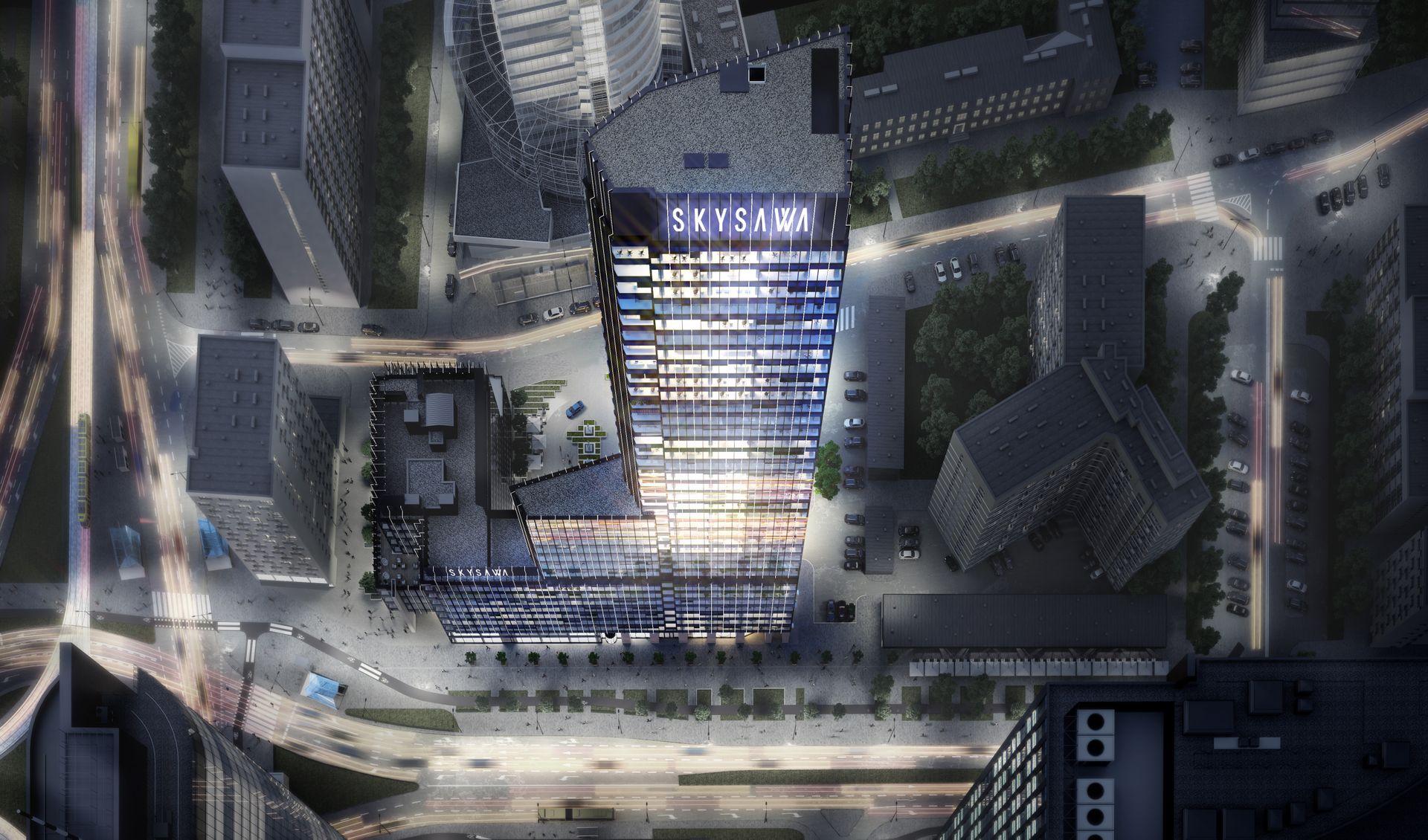 Przy ulicy Świętokrzyskiej w Warszawie powstaje 155 metrowy wieżowiec Skysawa [FILM]