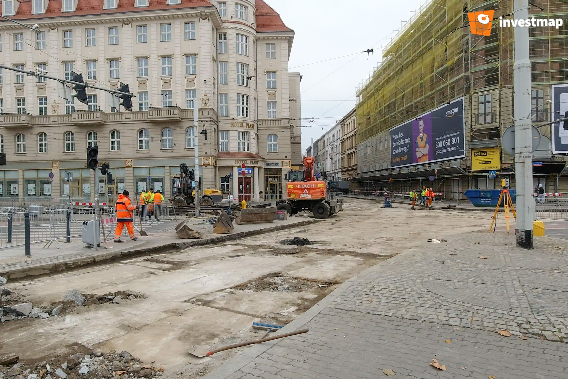 Wrocław: Trwa remont torowiska przy ul. Piłsudskiego [FILM + ZDJĘCIA]
