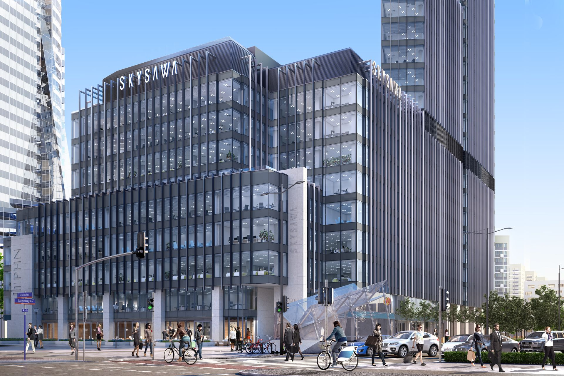 Warszawa: Pierwszy budynek kompleksu Skysawa osiągnął swoją docelową wysokość