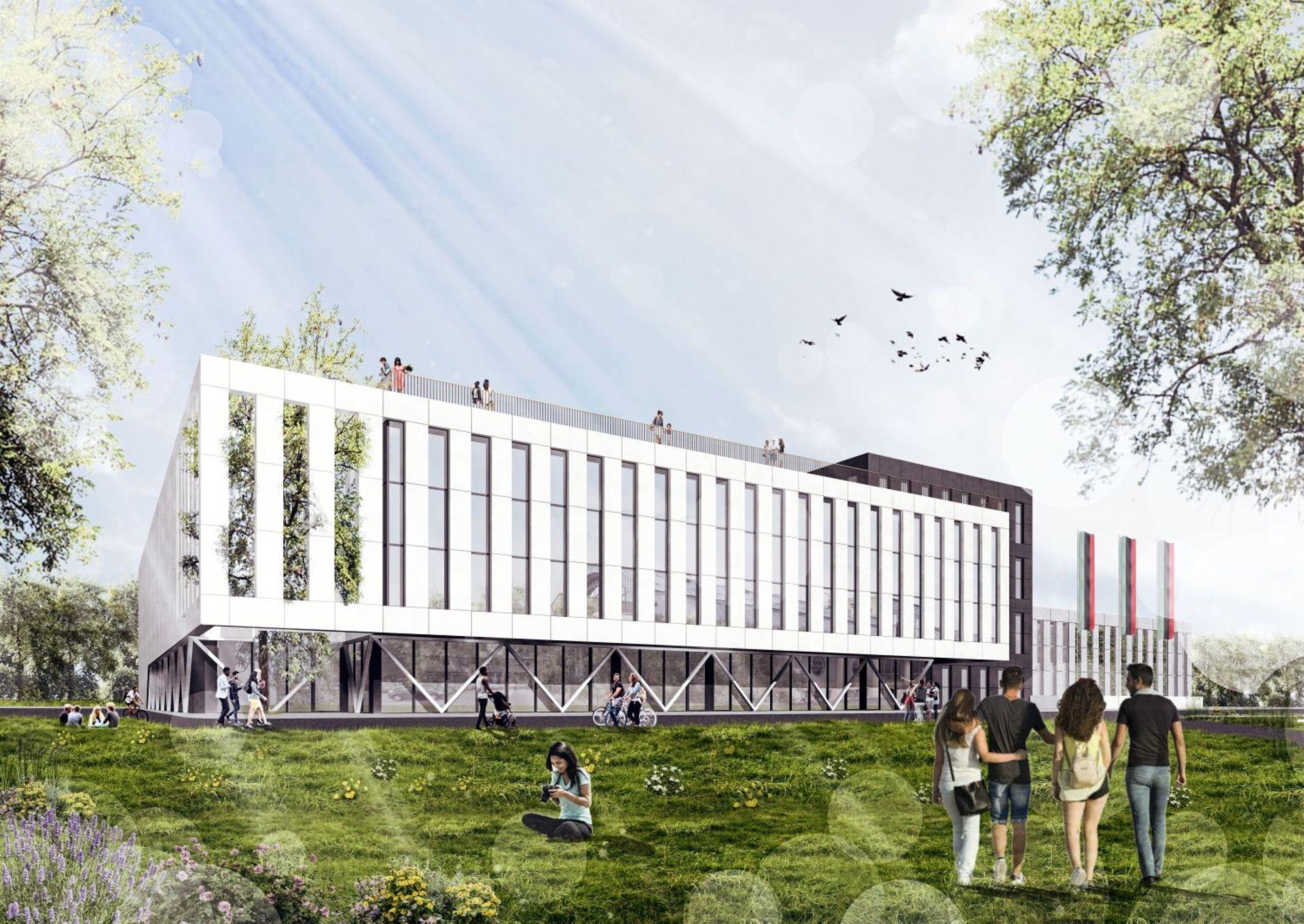Trwa budowa nowej wielofunkcyjnej hali sportowej Akademii Górniczo-Hutniczej w Krakowie [ZDJĘCIA + WIZUALIZACJE]
