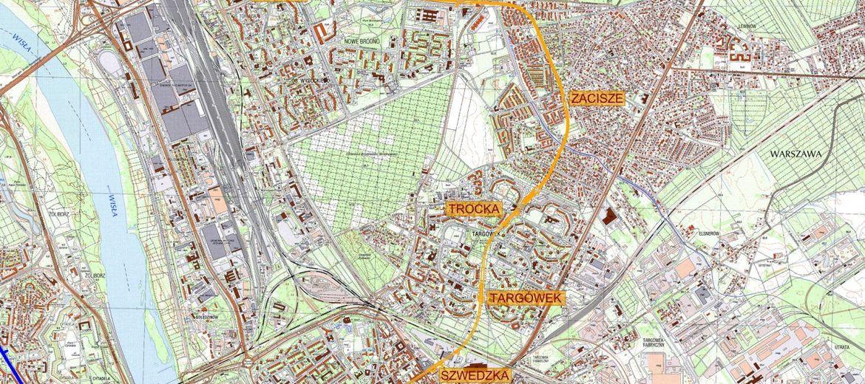 Planowana lokalizacja rozbudowywanej II linii metra po stronie wschodniej (źródło: www.metro.waw.pl)