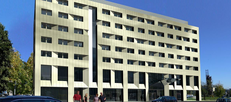 Wizualizacja: domex-bud.pl – Widok hotelu od ulicy Strzegomskiej