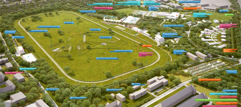 Plan rozbudowy i modernizacji Wrocławskiego Toru Wyścigów Konnych Partynice (wizualizacja: www.basis.wroclaw.pl)