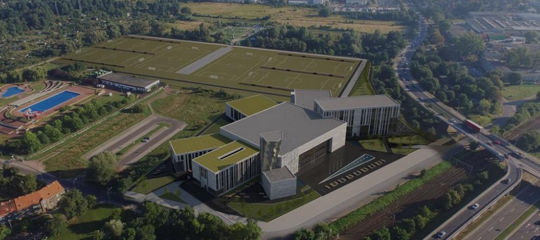 Wizualizacja Centrum Sportowo-Rekreacyjnego Ślęzy Wrocław na Kłokoczycach (projekt: BCM Architekci Sp. z o.o.)