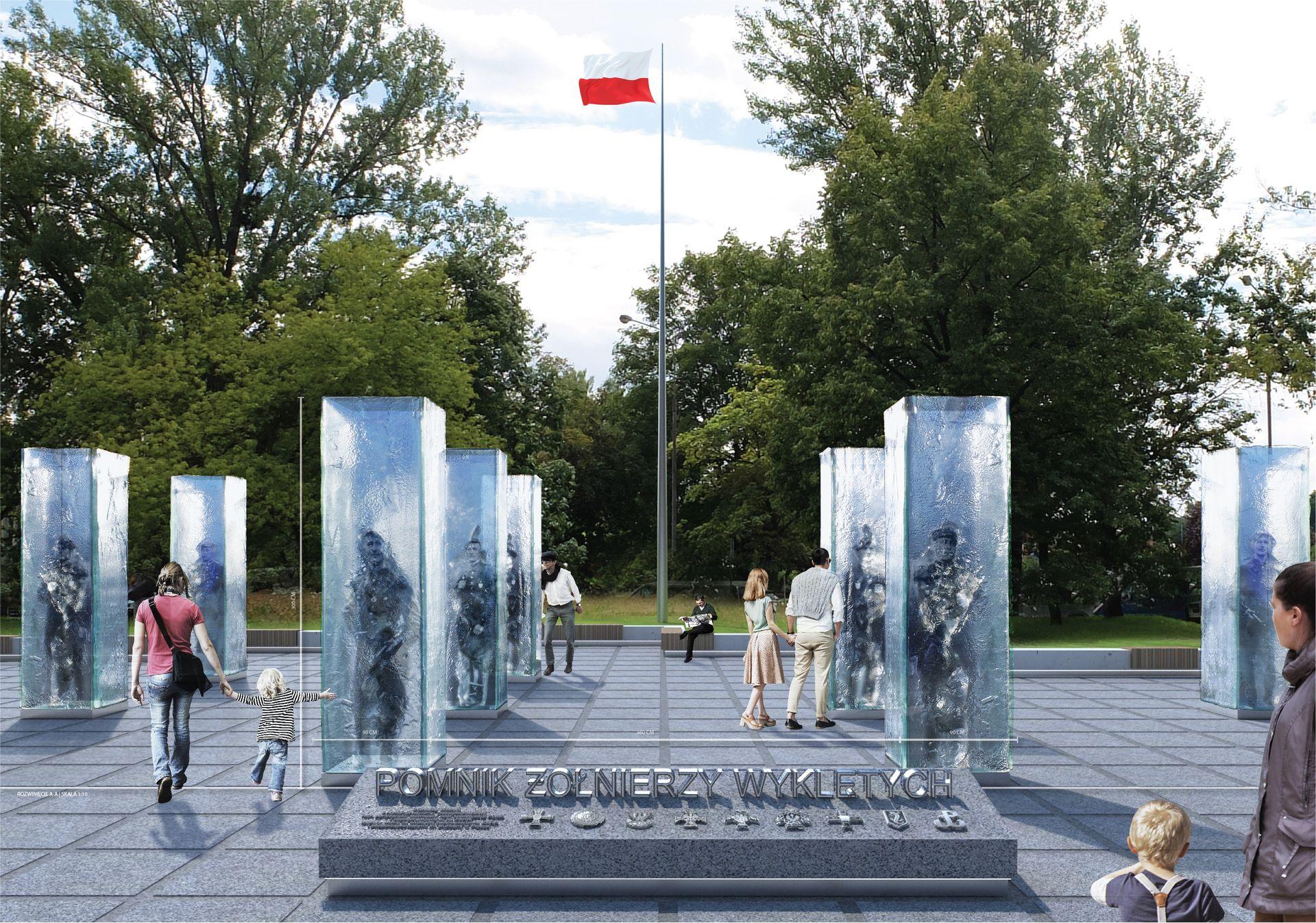 Wrocław: Tak ma wyglądać pomnik Żołnierzy Wyklętych przy Wroclavii. Konkurs rozstrzygnięty