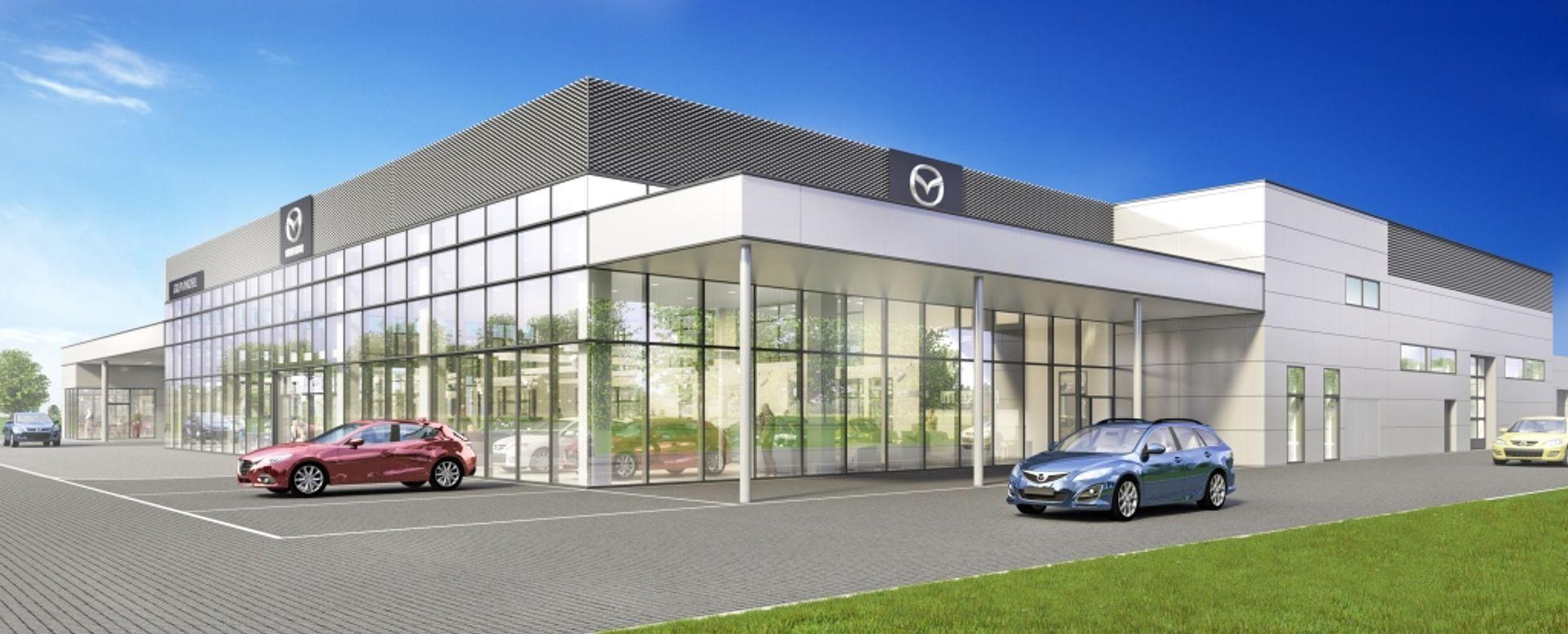 [Aglomeracja wrocławska] Rusza budowa nowego salonu Mazdy tuż pod Wrocławiem [WIZUALIZACJE]