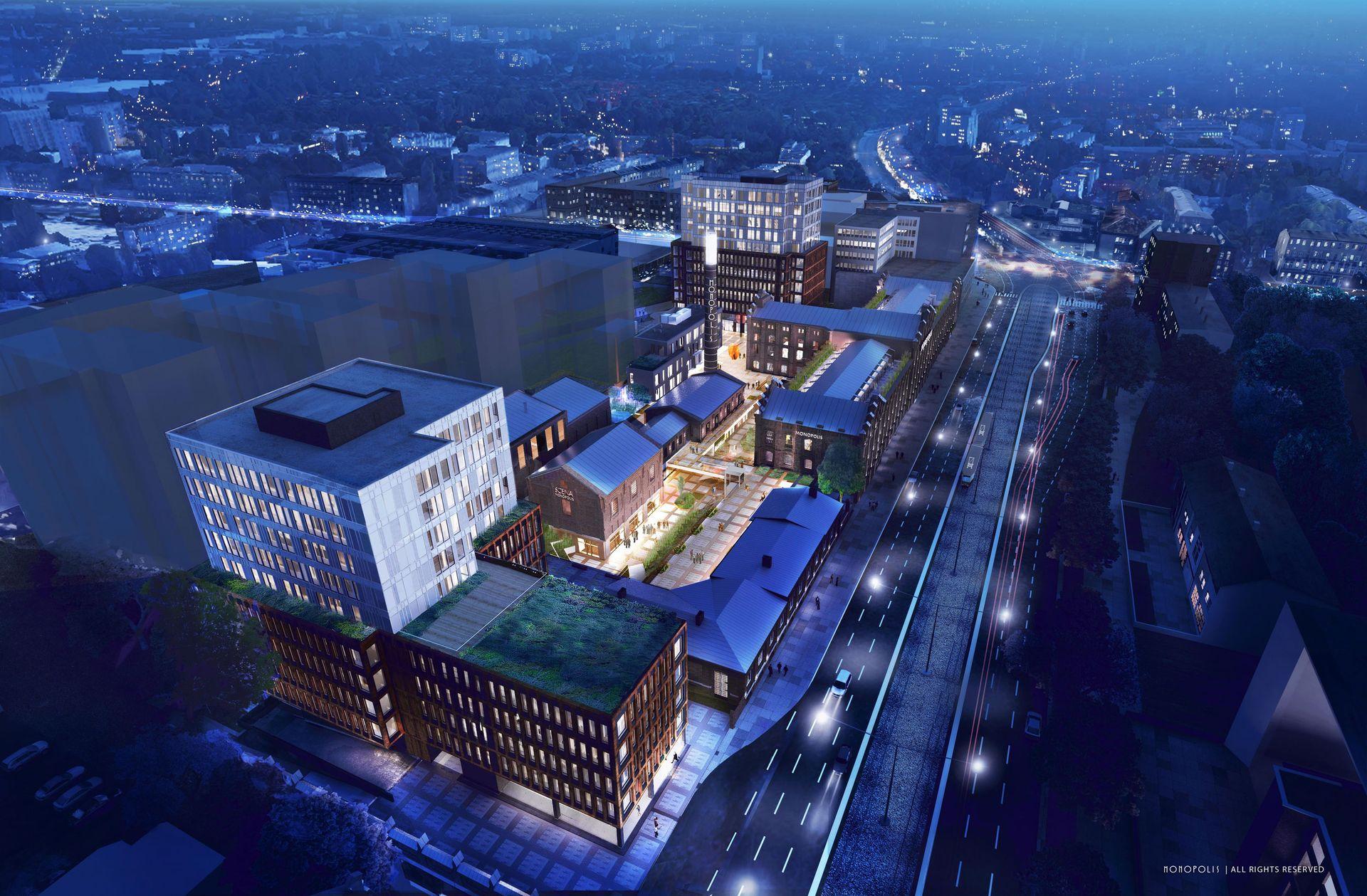 W Łodzi trwa budowa kompleksu biurowego Monopolis [FILM]